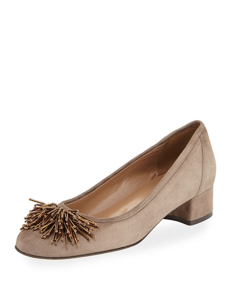 Sesto Meucci Flynn Beaded Suede Pump, Taupe