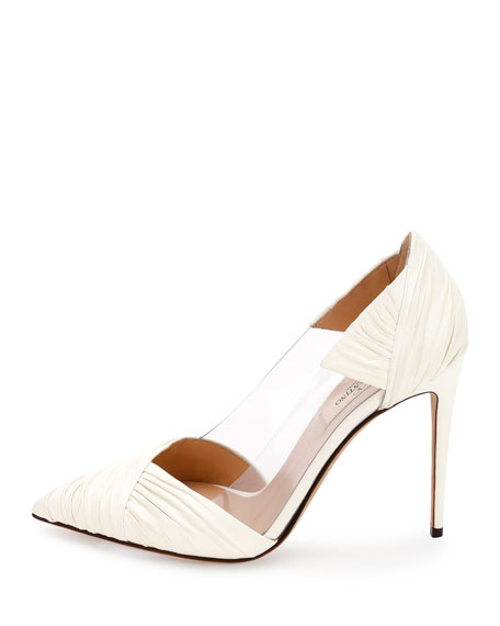 B-Drape Leather 100mm Pump, Ivory
