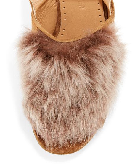 Gretchen Fur Ankle-Wrap Sandal, Brown