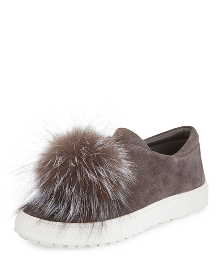 Marli Fox-Pompom Suede Sneaker, Smoke