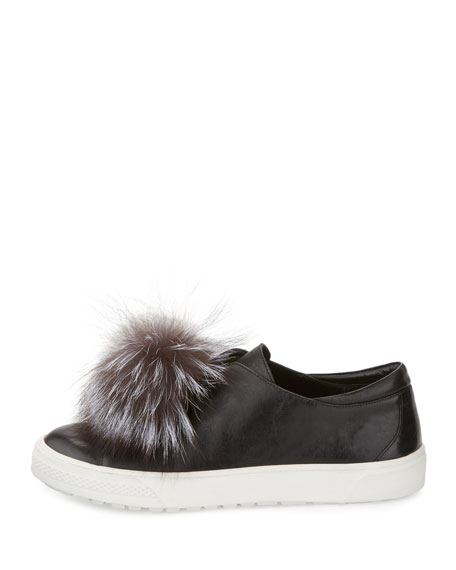 Marli Fox-Pompom Leather Sneaker, Black