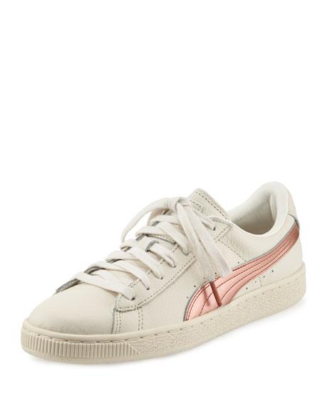 Puma Basket Classic Metallic Low-Top Sneaker, Whisper