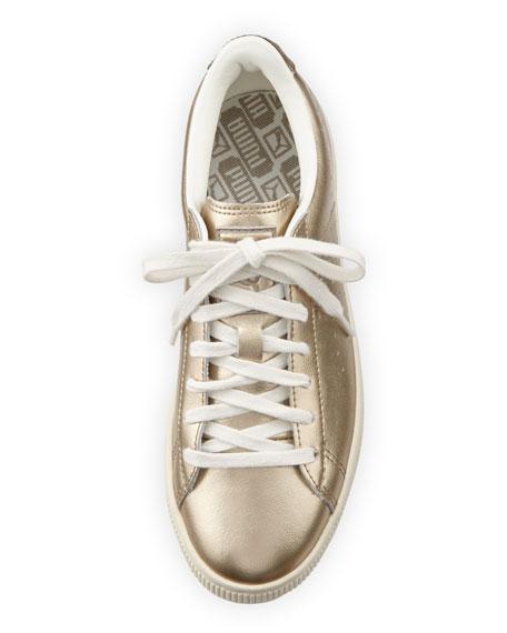 Basket Classic Citi Metallic Low-Top Sneaker, Silver Gold/Whisper White