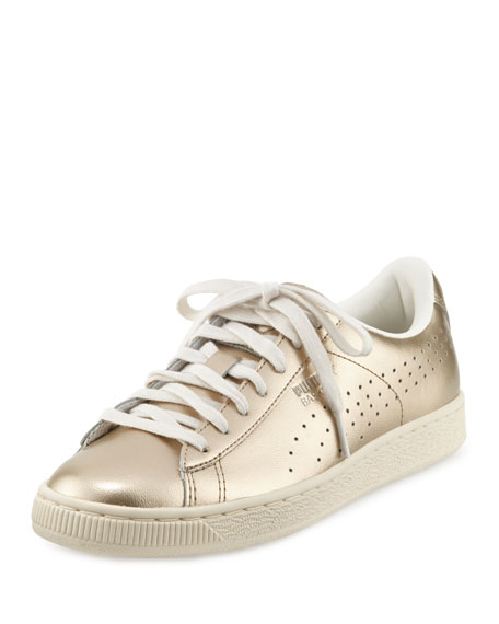 Basket Classic Citi Metallic Low-Top Sneaker, Silver Gold/Whisper White