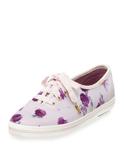 Keds® kick floral sneaker, plum dawn