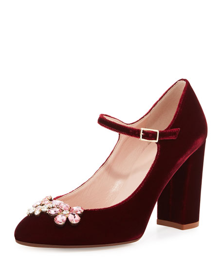 ballina crystal velvet mary jane pump, bordeaux