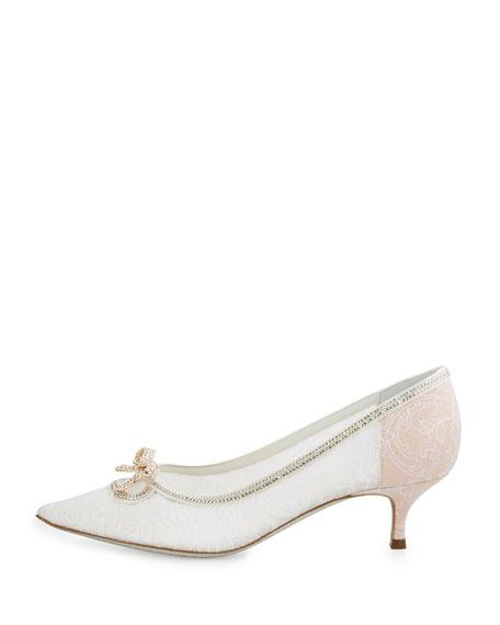 Rene Caovilla Lace Pointed-Toe Bow Flat, White