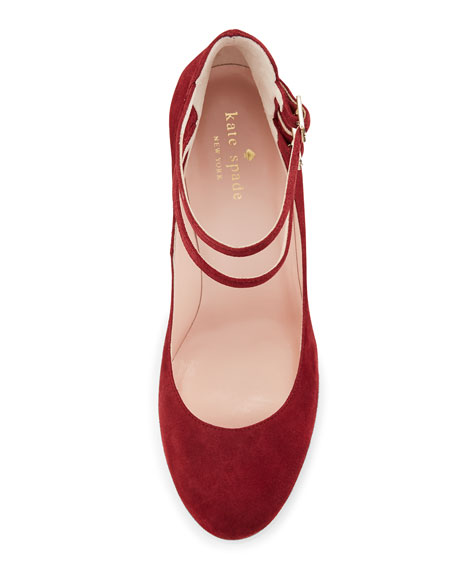 baneera suede ankle-strap pump, red chestnut