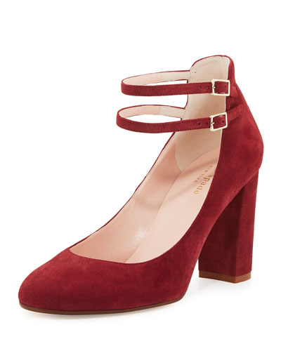 baneera suede ankle-strap pump, red chestnut