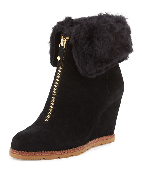 kate spade new york stasia shearling-cuff wedge bootie,