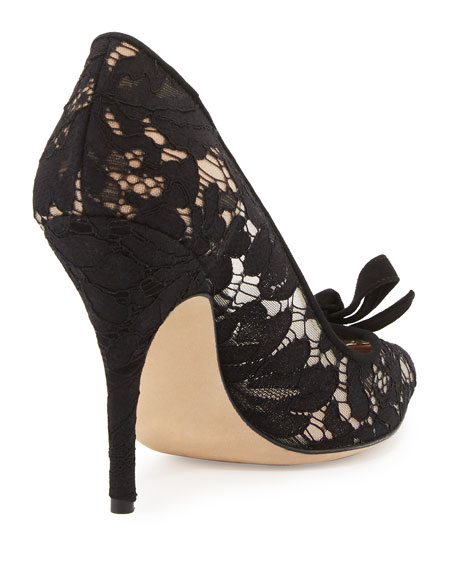 lisa too lace bow pump, black