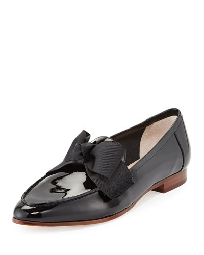 cosetta too patent bow loafer flat, black