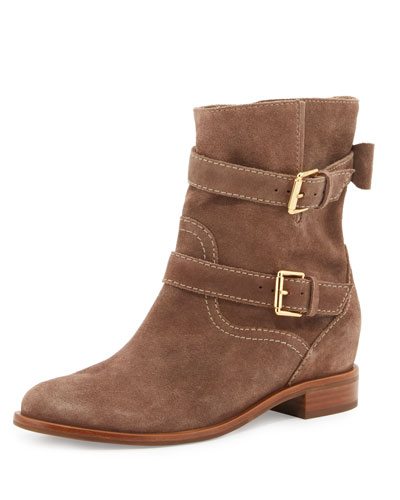 sabina suede buckle bootie, mousse