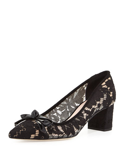 madelaine too lace block-heel pump, black