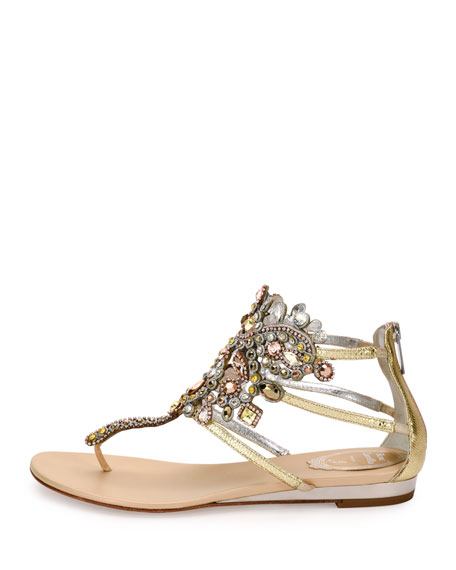 Jewel-Embellished Flat Thong Sandal, Platinum/Rose Gold