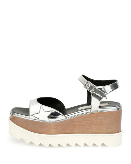 Star Wooden-Platform Sandal, Indium/White