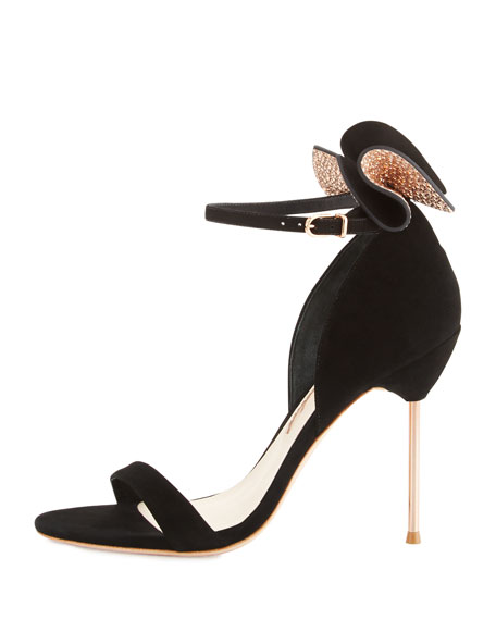 Maya Bow Suede 115mm Sandal, Black