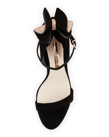 Maya Bow Suede 115mm Sandal, Black