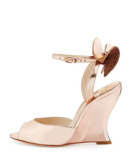 Image 2 of 4: Rizzo Bow Metallic Wedge Sandal, Rose Gold