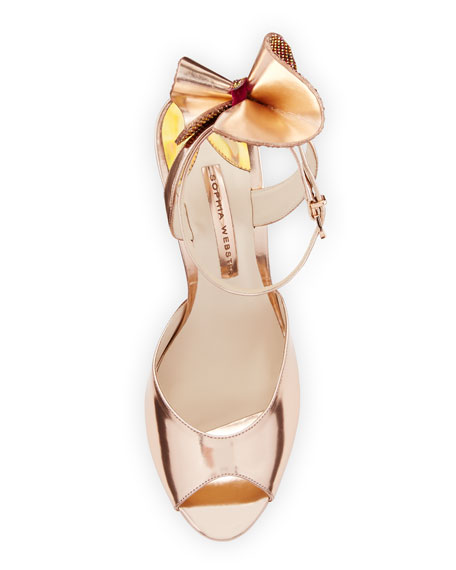 Image 3 of 4: Rizzo Bow Metallic Wedge Sandal, Rose Gold