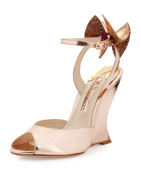 Rizzo Bow Metallic Wedge Sandal, Rose Gold
