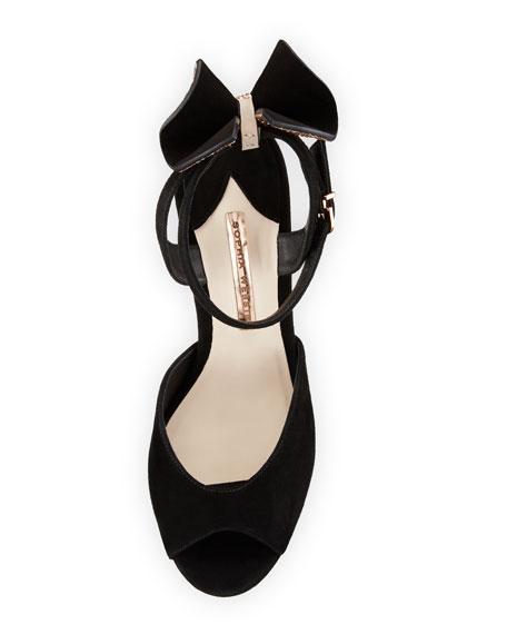 Raye Bow Suede Platform Sandal, Black