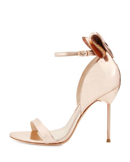Maya Bow Metallic 115mm Sandal, Rose Gold