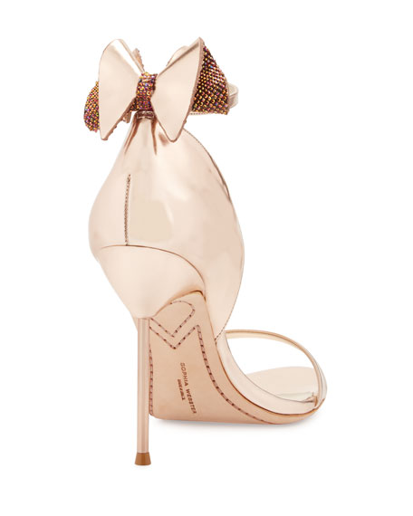 Maya Bow Metallic 115mm Sandal, Rose Gold