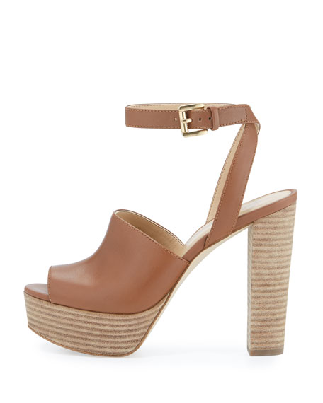 Trina Leather Platform Sandal, Luggage