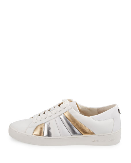 michael michael kors conrad striped leather sneaker optic. Black Bedroom Furniture Sets. Home Design Ideas