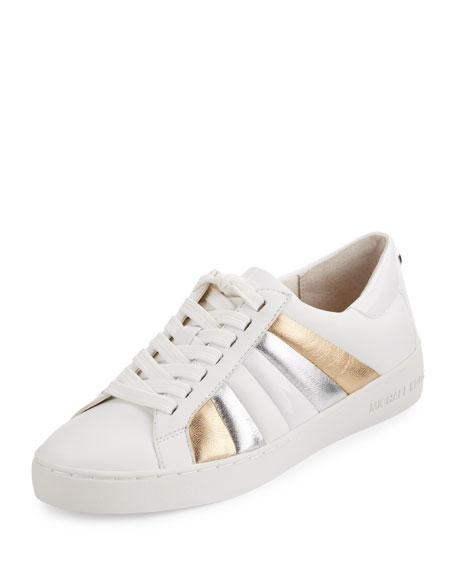 Conrad Striped Leather Sneaker, Optic White/Pale Gold/Silver