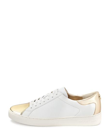 Frankie Metallic Leather Sneaker, Optic White/Pale Gold
