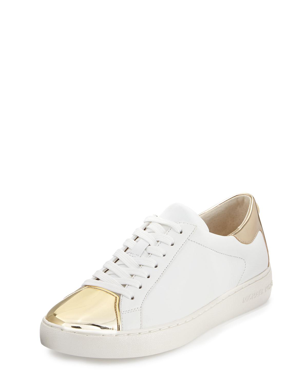 c6589959b28bb MICHAEL Michael Kors Frankie Metallic Leather Sneaker, Optic White/Pale Gold