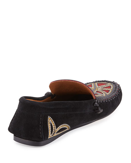 Finha Embroidered Suede Loafer, Black