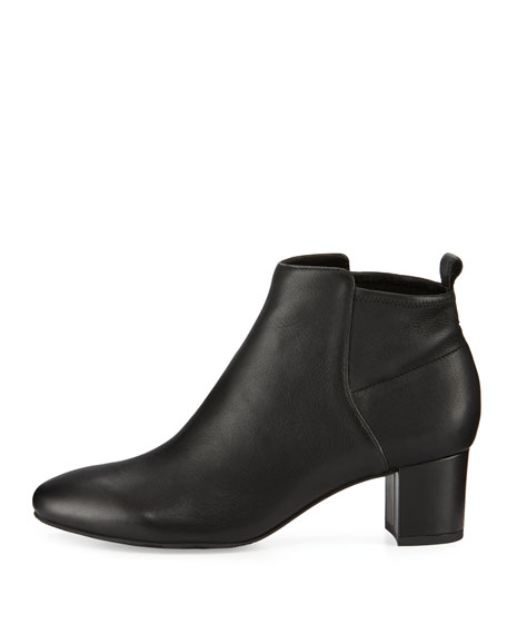 Betsy Leather Block-Heel Bootie, Black