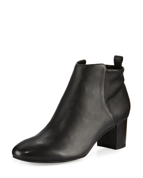 Delman Betsy Leather Block-Heel Bootie, Black