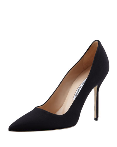 BB Crepe Pointed-Toe 105mm Pump, Black