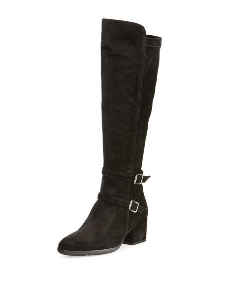 Sesto Meucci Fala Suede Buckle Knee Boot, Black