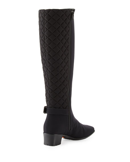 Yolanda Weatherproof Quilted Knee Boot, Black