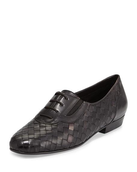 Sesto Meucci Nadir Woven Leather Oxford, Black