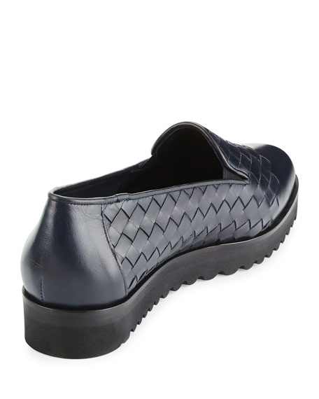 Naia Woven Leather Loafer, Navy
