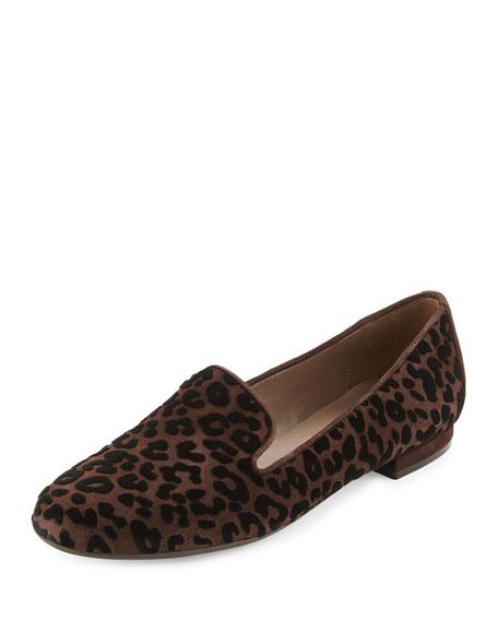 Sesto Meucci Kerria Leopard-Print Suede Loafer, Moro Brown