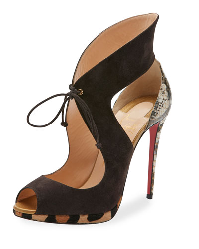 Campanina Self-Tie 120mm Red Sole Sandal, Taupe