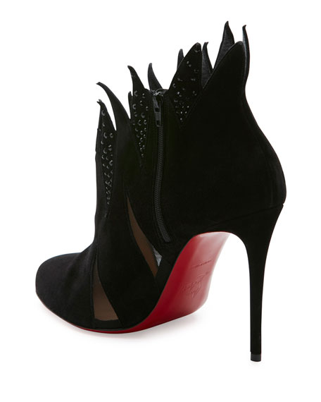 Folletteria Flame 100mm Red Sole Bootie, Black