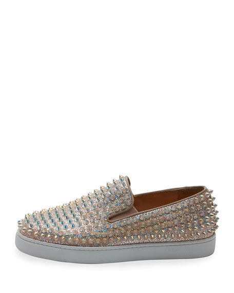 Roller Boat Spiked Skate Sneaker, Doubou/Clear