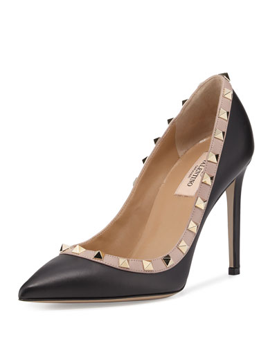 Rockstud Leather 100mm Pump, Nero/Poudre