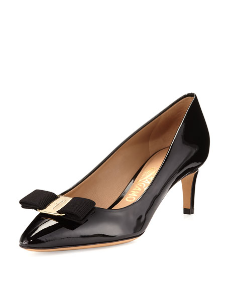 Salvatore Ferragamo Emy Patent Bow 55mm Pump, Black