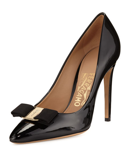 Patent Bow 100mm Pump, Black (Nero)