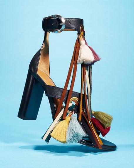 Tassel Fringe Leather 100mm Sandal, Mix Black