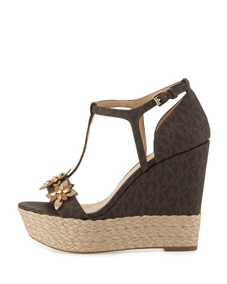 Image 2 of 3: Heidi Floral Logo Wedge Sandal, Brown